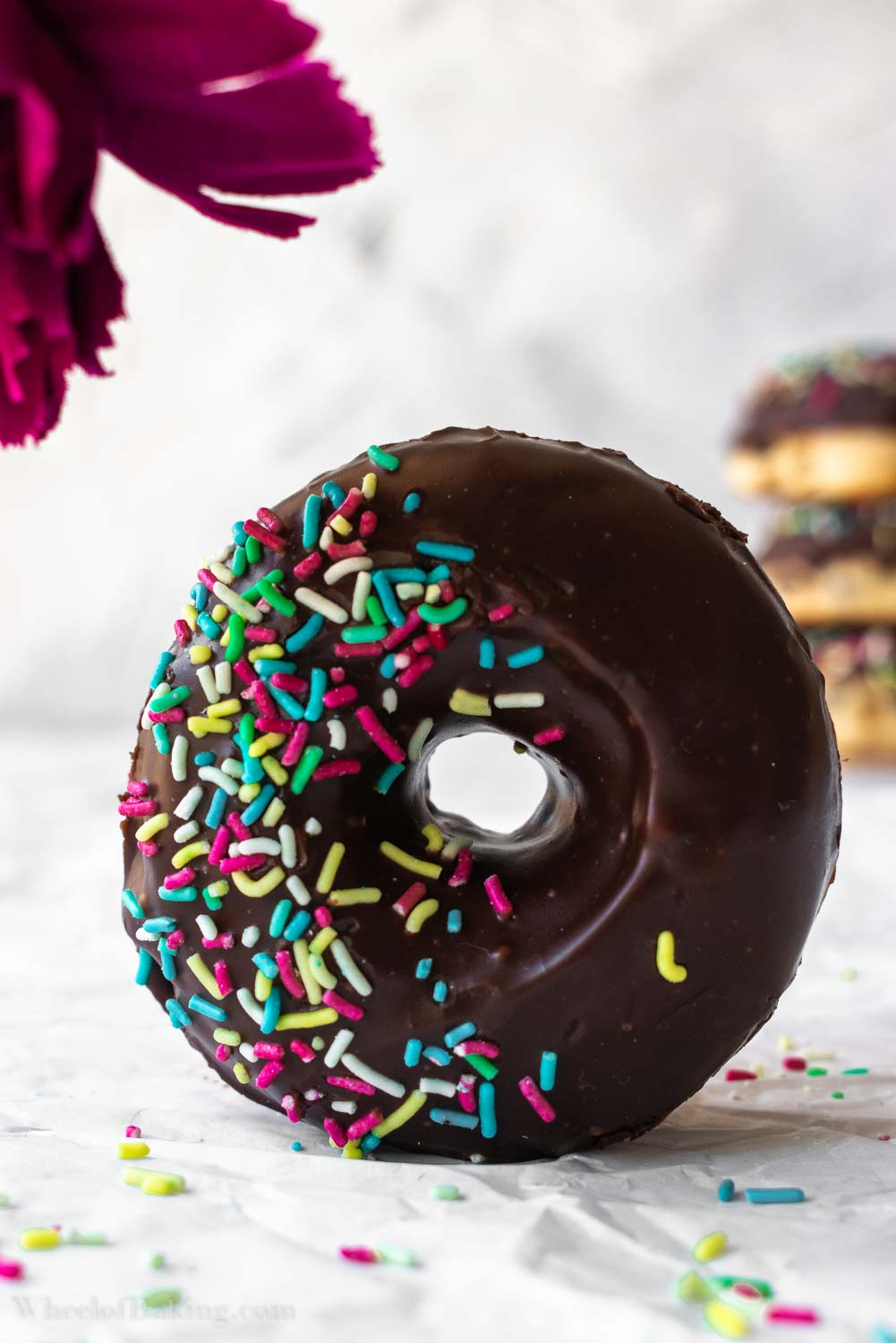 Baked Yeast Donuts with Chocolate Ganache
